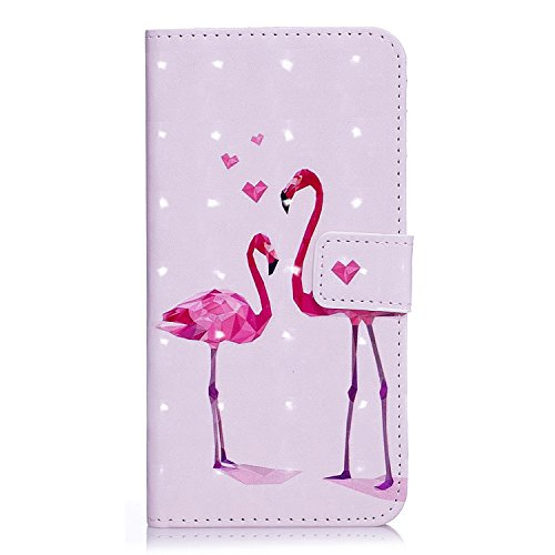 S8 Hülle, Galaxy S8 Hülle, Samsung Galaxy S8 Hülle, Samsung Galaxy S8 Hülle Muster, Samsung Galaxy S8 Leder Wallet Tasche Brieftasche Schutzhülle, BONROY 3D Bunte Retro Muster Ledertasche Elegant Hand Flamingo-Paar