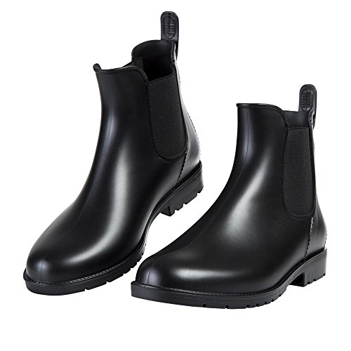 Asgard Women's Short Rain Boots Waterproof Black Elastic Slip On Ankle Booties B38