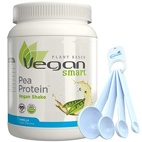 Naturade Vegan Smart Pea Protein - 19 oz Bundle with a Lumintrail Set of 4 Measuring Spoons