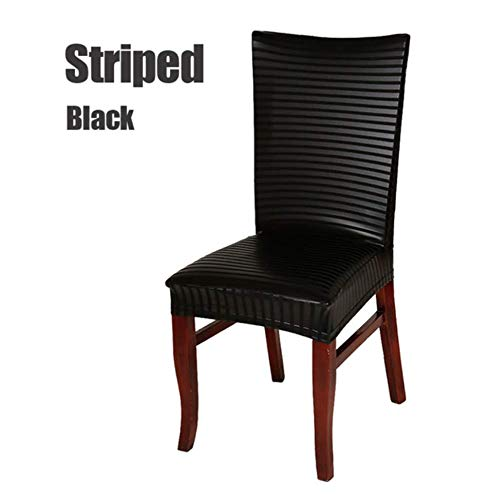 Stretchable Elastic Dining Chair Covers Fancy Different Design Protectors Slipcovers Faux Leather Look Water Resistant Removable for Family Dining Room, Party, Banquet, Wedding (Black Striped)