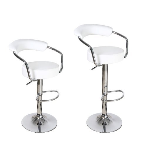Adeco White Leatherette Cushioned Adjustable Barstool Chair with Curved Back and Chrome Arms Pedestal Base (Set of 2)