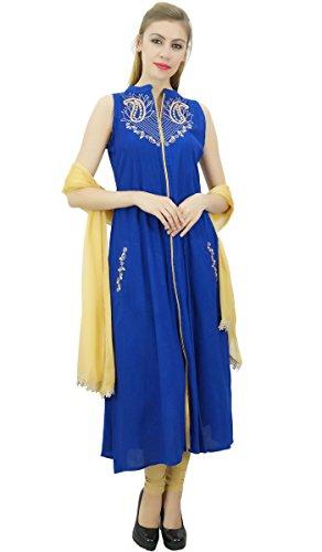 bestickt Set Beige Anzug Indian und Frauen Rayon Dupatta Ethnic mit Atasi Koenigsblau SxI68wqxO