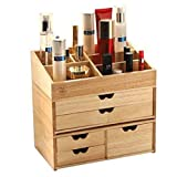 Cosmetic Display Cases Cosmetic Storage Box Girl's Favorite Gift Household Solid Wood 3-Layer Drawer Cosmetic Storage Box European Creative Multi-Purpose Drawer Dressing Table Rack Cases