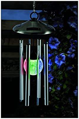 Cole & Bright 6727 - Color Changing Crackle Glass Globe Solar Wind Chime with Light