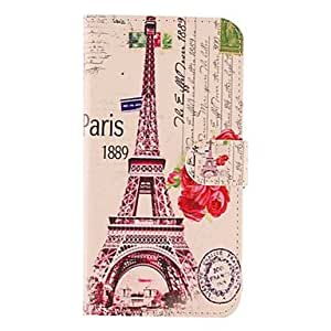 The Eiffel Tower and the Rose Pattern PU Leather with Soft Case and Card Slot for Samsung Galaxy S5 I9600