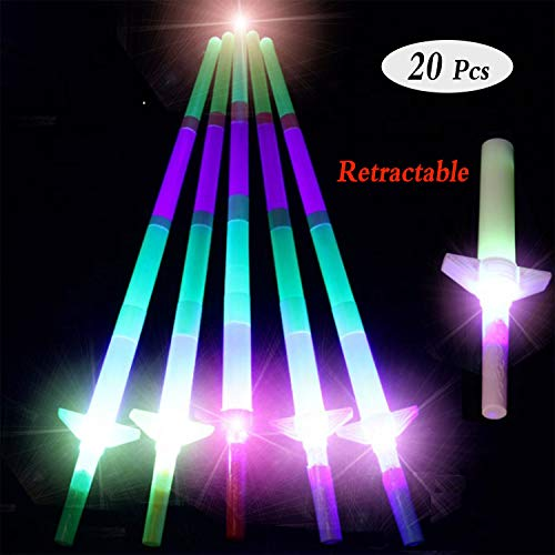 20 Pcs Retractable LED Foam Stick Glow 4-Section Big flashing Children Kids Light Up Toy Light Sabers Telescopic Party Supplies,Halloween,Concert Rave,Birthdays,Festival Decoration,Batteries -