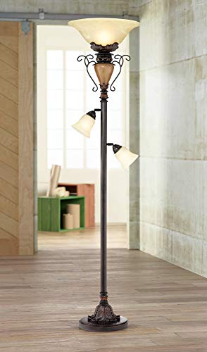 - Traditional Torchiere Floor Lamp Tree Bronze Adjustable Alabaster Glass Shades Slide Dimmer for Living Room Reading - Regency Hill