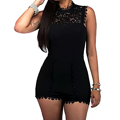 SheKiss Women's Casual Sexy Lace Sleeveless High Waist One Piece Pants Jumpsuits Rompers Ladies Outfits: Clothing