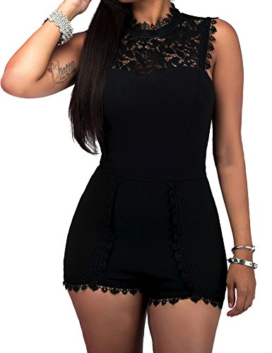 - shekiss Women's Casual Sexy Lace Sleeveless High Waist One Piece Pants Jumpsuits Rompers Black Ladies Outfits Black X-Large