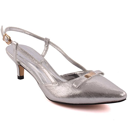 Unze Women  Jackey  Tiny Bow Pointed Toe Mid Low Heel Party Prom Get Together Carnival Office Evening Sandals Heels Court Shoes Uk Size 3 8   10G69808 B17
