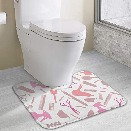 Bennett11 Hairdressing Salon Equipment U-Shaped Toilet Floor Rug Non-Slip Toilet Carpets Shower Mat 19.2″x15.7″