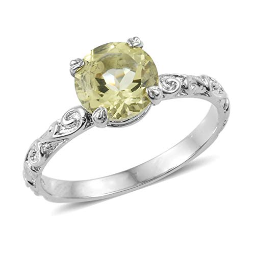 Shop LC Delivering Joy Solitaire Ring Stainless Steel Round Lemon Quartz Gift Jewelry for Women Size 10 Ct 1.9