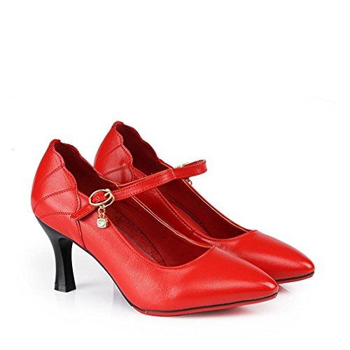 BYLE Sandalias de Cuero Tobillo Modern Jazz Samba Zapatos de Baile Zapatos de Baile Latino de Mujeres Adult Dance con Fondo Blando Rojo Zapatos de Mujer 7CM Onecolor