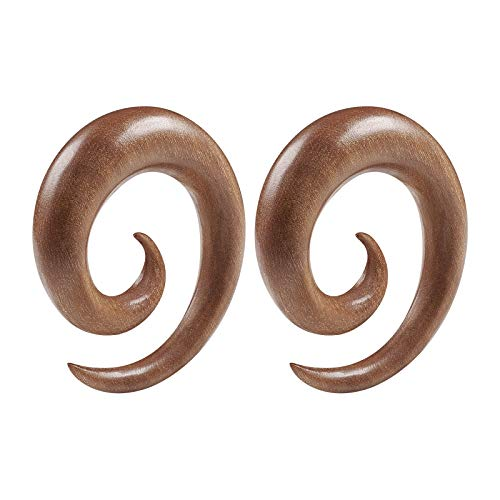 BIG GAUGES Pair of Sawo Wood 00g Gauge 10mm Spiral Coil Taper Expander Piercing Jewelry Earring Stretching Ear Stretcher Plugs BG5321