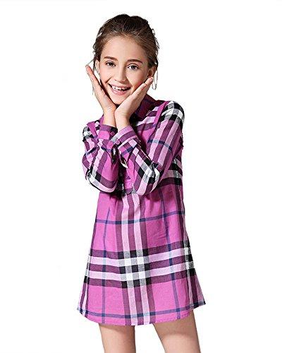 [MIQI Little Big Girls' Plaid Shirt Dress Spring Summer Style(Purple06 9T)] (Little Mermaid Tutu Dress)