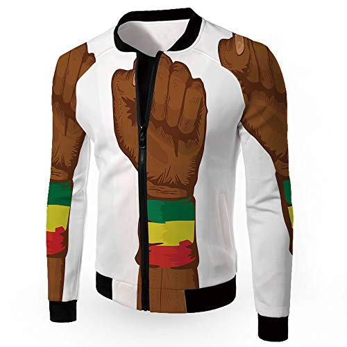 iPrint Coats,Rasta,Zipper Sportswear Patchwork Long Sleeve Coat,Ethiopian Rebellion Sym - Opi Skin Scrub
