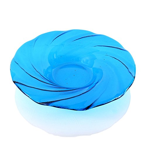 Turquoise Sea Blue Fused Glass Fruit Bowl Centerpiece Large