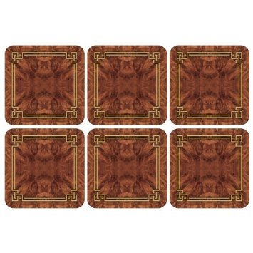 PIMPERNEL Walnut Burlap Coasters square set of 6
