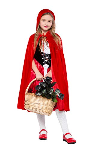 Girls Little Red Riding Hood Cosplay Children Fancy Dress Party Halloween Costumes (Medium) for $<!--$15.15-->