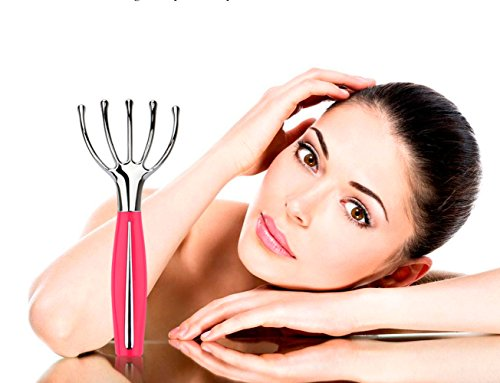 MS.DEAR Hand Held Scalp Head Massager, Electric Head Massager, Neck Massage,Scalp Squid Tingle Head Massage,Octopus Stress Relax Spa Therapy Healing Gift for Christmas Pink