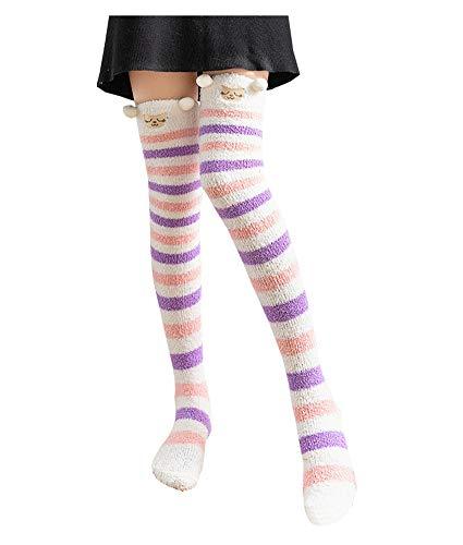 - Bopstyle Christmas Soft Warm Socks Coral Velvet Knee High Stockings for Girls Gift (Cute Sheep)