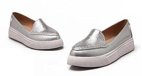 Sfilata Donna Sneakers Piatte Slip On In Pelle Mocassino Argento