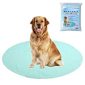 EXPAWLORER Washable Pee Pads for Dogs – Reusable Round Pad for Puppy Playpen Pen, Puppy Housebreaking Training, Travelling and Whelping, 48″x48″