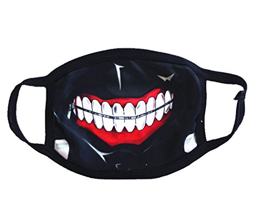 - MagicFour Face Mouth Mask Teeth Unisex Anti Dust/Sand Proof Outdoor Anti-Fog Accessories, Black