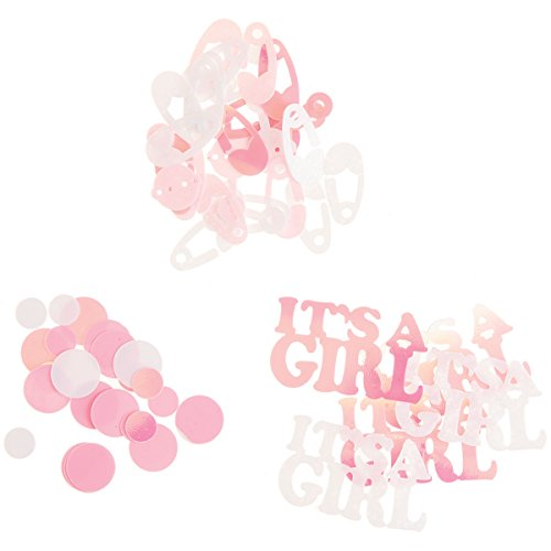 Darice Baby Shower Confetti - Baby Girl Shapes in Pink - 24 grams - (Baby Rattle Confetti)