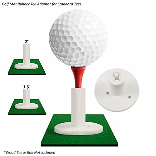 """Player Supreme Rubber Golf Tees for Practice & Driving Range Mats (3 Tee Packs) (Wood Tee Adaptor for Mats, 1.5"""")"""