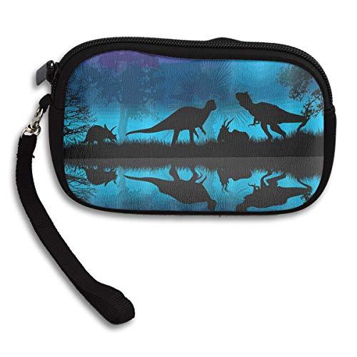 Dinosaurs River Moon Night Dinosaur Coin Pouch Clutch Purse Wristlet Wallet Phone Card Holder Handbag]()