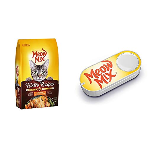 Meow Mix Bistro Recipes Rotisserie Chicken Flavor Dry Cat Food, 3 lb (Pack of 4) + Meow Mix Dash Button
