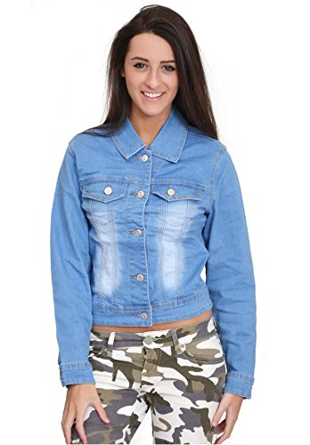 D. Cherri Women's Light Blue Faded Fitted Stretch Denim Jean Jacket (US 8 / UK10) ()
