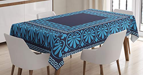 Ambesonne Greek Key Tablecloth, Grecian Meandros Pattern with Intricate Lines Floral Figures in Blue Shades, Dining Room Kitchen Rectangular Table Cover, 52 W X 70 L Inches, Dark Blue (Decor Grecian)