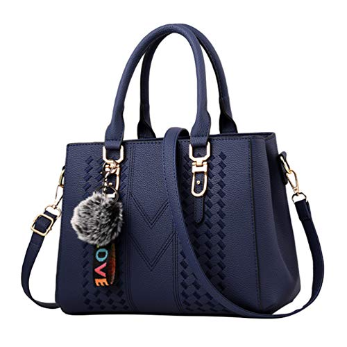 Leather Crossbody Travel Handbags Bags Blue Womens Yaancun Handbag Shoulder Tote Dark Pu 1Bg8nwq