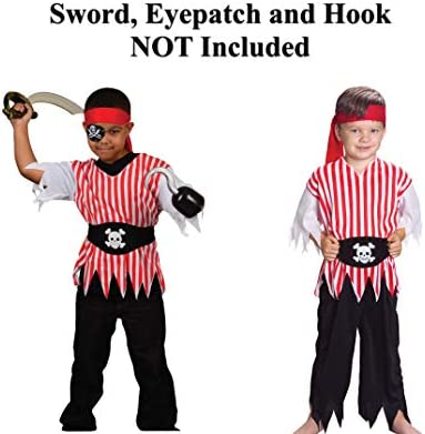 5pcs Pirate Costume Halloween Prop Set with Pirate Cutter Pirate Hook Pirate Hat