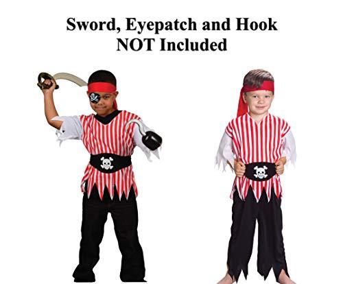 GiftExpress Pirate Costume Kids, Pirate Costume Boys (Includes Belt, Pirate Bandana, Pirate Pants and Pirate Shirt) -