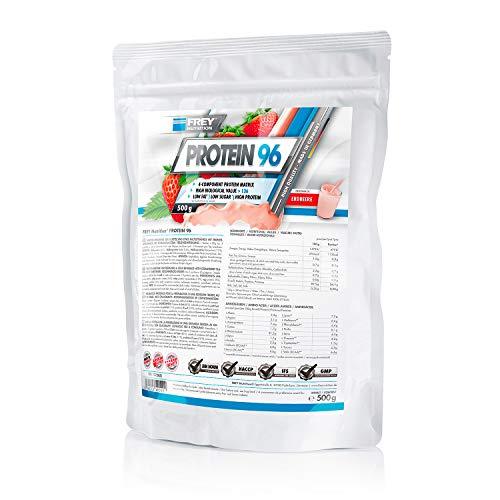 Frey Nutrition Protein 96 Erdbeer Zipp-Beutel, 1er Pack (1 x 500 g)
