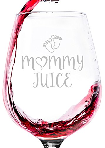 Mommy Juice Funny Wine Glass - Best Christmas Gifts For Mom, Women - Unique Xmas Gag Gift Idea From Husband, Son, Daughter - Fun Novelty Birthday Present For a New Mom, Wife, Friend, Sister, Her -13oz