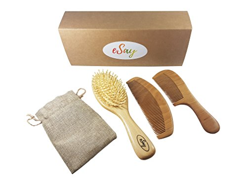 eSay Hair Comb And Brush Set For Women, Men - Hairbrush For Fine Hair And thick hair - Comb Massager Hair Growth, Wooden