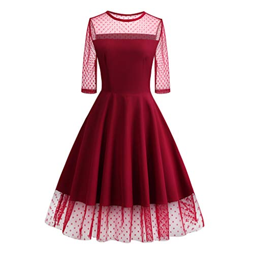 - Women Dot Mesh Ball Gown Vintage Evening Formal Dress Party O-Neck Half Sleeve Skirt Red