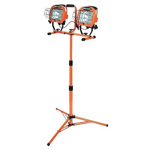 Designers Edge L14SLED 1000 Watt Twin Head Adjustable Work Light With  Telescoping Tripod Stand, Halogen