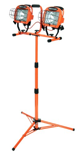 Designers Edge L14SLED 1000-Watt Twin-Head Adjustable Work Light with Telescoping Tripod Stand, - Stand Heavy Portable Work Duty