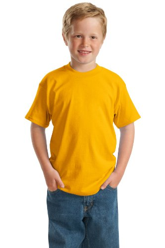 - Hanes 5.2 oz Youth COMFORTSOFT HEAVYWEIGHT 50/50 T-Shirt, L-Gold