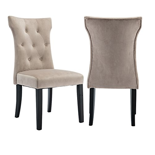 FUMU Set of 2 Modern Fabric Dining Chairs,Living Room Bedroom Casual Chair Upholstered Chairs Armless Button Tufted with Solid Wood Legs,Beige (Dining Chairs Taupe)