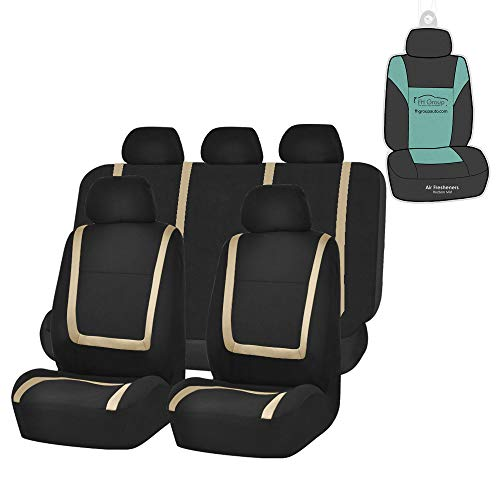 FH Group FB032115 Unique Flat Cloth Seat Covers (Beige) Full Set with Gift - Universal Fit for Cars Trucks and SUVs