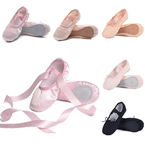 Ruqiji Ballet Shoes for Girls/Toddlers/Kids/Women, Satin Ballet Shoes/Ballet Slippers/Dance Shoes, Ribbon, Pink