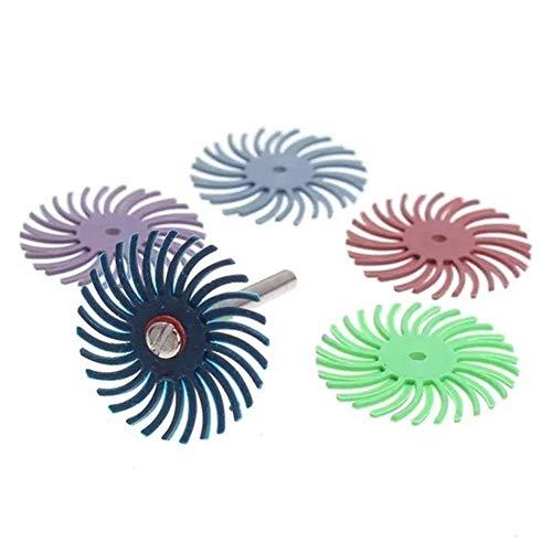 Honana 研磨剤、6PCS毛のディスクブラシ品揃え研磨ブラシミックスグリット粗ラジアル 研磨工具