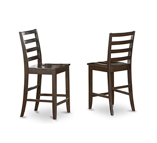 Furniture Wood Seat Stool Set with Ladder Back, Set of 2, Cappuccino Finish Home Office Commerial Heavy Duty Strong Décor