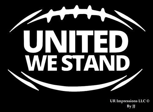 (UR Impressions Football - United We Stand Decal Vinyl Sticker Graphics Cars Trucks SUV Vans Walls Windows Laptop Tablet|White|7 X 4.4 Inch|JJURI069)